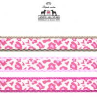DOG LEAD - CLASSIC ANIMAL PRINT LEOPARD PINK (RIBBON 10mm)